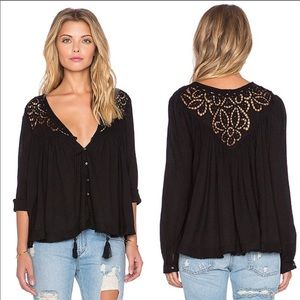 FREE PEOPLE Doin' It Right Black Lace Peasant Top